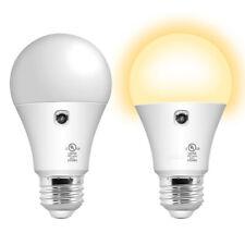 2 Pack A19 LED Sensor Bulb, Dusk to Dawn Automatic On/Off 800 Lumen Warm White