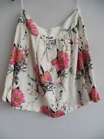LADIES CREAM / PINK NEXT LINEN FLORAL SKIRT PETITE SIZE 10 NEW