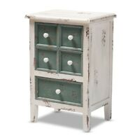 Antique French Country Cottage Distressed White And Teal Finished Wood 5-Drawer