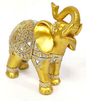 Auspicious Large Thai Buddha Feng Shui Golden Elephant With Trunk Up Statue