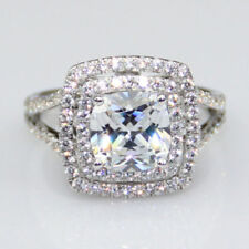 Halo Double Cushion Round 2.90Ct Diamond 925 Sterling Silver Wedding Ring+Gift