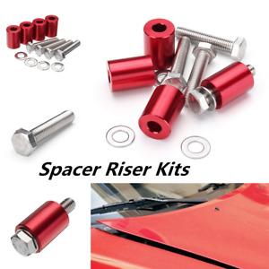 "1"" 8mm Red Billet Hood Vent Spacer Riser Kit For Car all Motor Turbo Engine Swap"