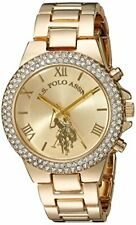 U.S. Polo Assn. Women's Gold-Tone Analog-Quartz Watch with Alloy Strap, 8.