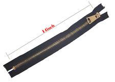 "Black Heavy Duty Polished Gold Teeth 14"" Zip Metal Closed End Zipper"