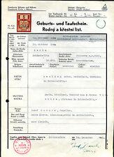 Geburts und Taufschein-- 1824 -- Böhmen Mähren -- Mit Marke -- Schischelitz --