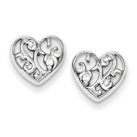 925 Sterling Silver Polished CZ Rhodium Plated Heart Post Earrings
