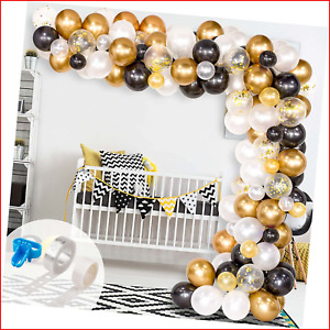 Whaline Graduation Balloon Arch & Garland Kit, 120Pcs Black, White, Gold and and