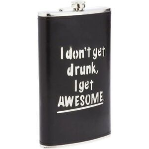 64 oz Stainless Steel Flask with Black Wrap -Alcohol Liquor Whiskey Party Flask