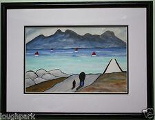 ARTE Irlandese ORIGINALE GUAZZO dipinto ad olio a casa a piedi da artista irlandese Sean DYLAN