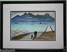 Irish Art Original Gouache Oil Painting WALKING HOME by Irish Artist SEAN DYLAN