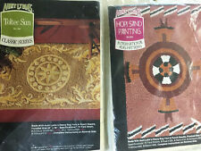 Vtg Aunt Lydia's Rug Printed Punch Needle- Hopi Sand Painting & Cretan Tapestry