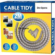 2M Cable Tidy Wire Organising Tool Zip Kit Spiral Wrap Home PC TV Office