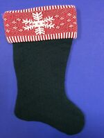 Christmas Stocking Green Red and White Cable Knit Snowflake