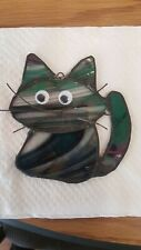 """Stained Glass""""Cat"""" sun catcher or ornament , 4 x 4  inch"""