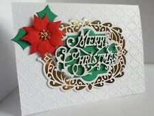 Handmade Merry Christmas Card Poinsettia