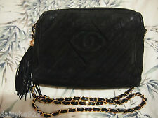 AUTH VTG CHANEL CLASSIC CAMERA BAG CROSSBODY W/TASSEL SUEDE LEATHER BLACK GOLD M
