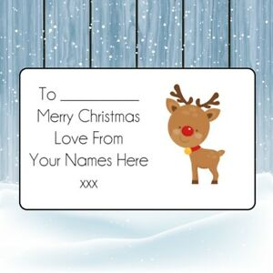 Reindeer Christmas Personalised Gift Tags, Present Stickers,Labels,wrapping,xmas