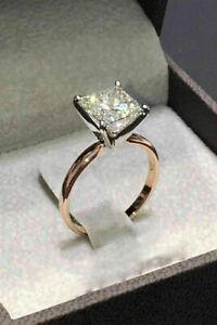 2.65Ct Princess Cut VVS1/D Diamond Solitaire Engagement Ring 14K Rose Gold Over