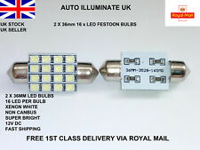 2x 36mm 16 LED Xenon White Car Festoon Interior C5W 239 Number Plate Light Bulb