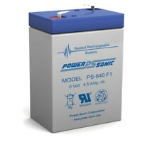 Power-Sonic 6V 4.5Ah PS-640, PS640F1, UB645 Replacement SLA Battery NEW!