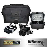 Deluxe Padded Gadget Bag Case for Cameras Camcorders VR Goggles (Large, Black)