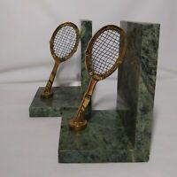 Green Stone Marble Brass Tennis Racket Bookends Mid Century Office Sport Decor