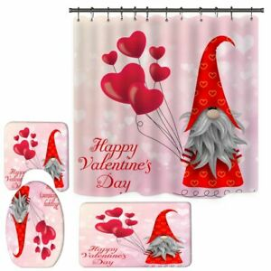 Valentine's Day Gnome Love Hearts Wood Boards Shower Curtain Set Bathroom Decor