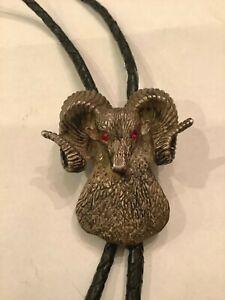 Sterling Silver & Garnet Bolo String Tie Ram's Head