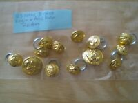 13 US Navy  Brass Eagle and Anchor Buttons, gold tone Waterbury Button Co.