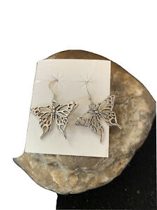 """Stunning Southwestern Sterling Silver Butterfly  Earrings 1"""" 01519"""