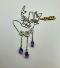 9 Ct Gold Necklace Set With Diamond Cluster & Gemstone Drops PRP £275