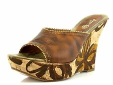Icon TRIBAL UNION Brown Leather Wedge Mules 7057 Size 8 M NEW!