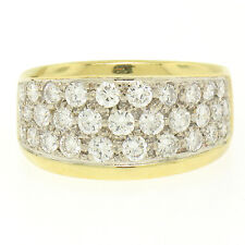 18k Solid Two Tone Gold 1.35ctw 31 F VS2 Diamond Covered Pave Set Wide Band Ring