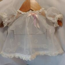 """Vtg 50's Sheer Flocked Dotted Swiss Lace Dress 3 6 Mo's Doll Newborn 8"""" 9"""""""
