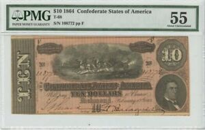 $10 1864 Confederate States of America T-68 PMG 55 About Unc