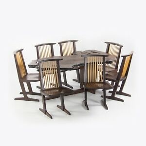 Ru Amagasu Nakashima Set of 7 Conoid Chairs & Holtz Dining Table Wenge & Redwood