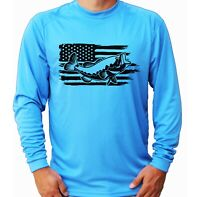American Flag Bass Fish Long Sleeve UPF 30 T-Shirt Fishing Boat UV Protection