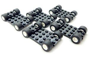 5 SETS of LEGO WHEELS (20 tires/5 bases) race car truck lot vehicle slicks