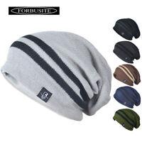 Beanie Hat Mens Women Stripe Knit Ski Cap Warm Slouchy Skull Winter Thermal B318