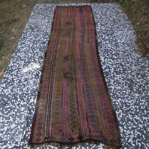 Antique Moroccan Kilim Rug 3x10ft Authentic Handmade Long Tribal Wool Runner Rug