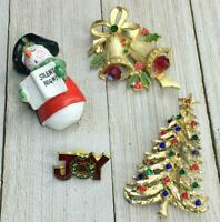Vintage Assorted Christmas Holiday Snowman Tree Bells Brooch Pin Jewelry Lot