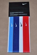Nike Printed Headbands Assorted 4 Pack - Red, White, Royal, & Light Blue