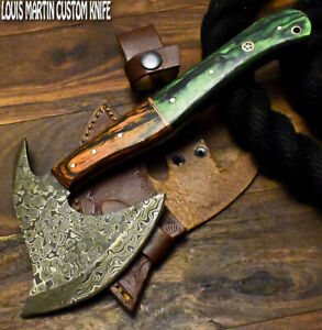 Louis Martin Handmade Damascus Steel Hard Wood Hunting Clever Chopper Axe Knife