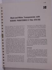 Kodak Tech Data 1972 BW Eastman Panatomic X- Films Pub No F-19 Sheet B139A