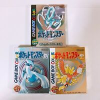 Pokemon Silver Gold Crystal set Pocket Monsters Game Boy Color GBC Japan