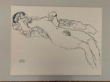 GUSTAV KLIMT,'RECLINING NUDE,1917',NACHLASS, RARE 1990's SILKSCREEN ART PRINT