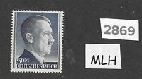 #2869   Nice MLH 5RM Adolph Hitler Third Reich Germany stamp / 1942-1944 / Sc527