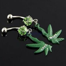 Pair Best Buds 2-Half Marijuana Leaf Dangle Dark Green Belly Navel Ring JW479 MA