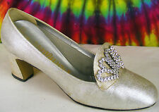 7 M vintage 60's-70's silver fabric Fascinators heels pumps shoes