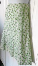 PRESWICK & MOORE 14 lined green EMBROIDERED FLOWERS off white flared out SKIRT